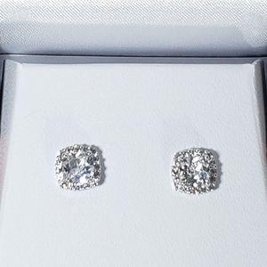 NIB White Sapphires Sterling Silver Earrings